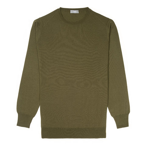 Budd Wool Crew Neck Sweater in Vere-Sweater-Sterling-and-Burke