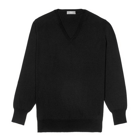 Budd Wool V Neck Sweater in Black