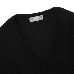 Budd Wool V Neck Sweater in Black-Sweater-Sterling-and-Burke