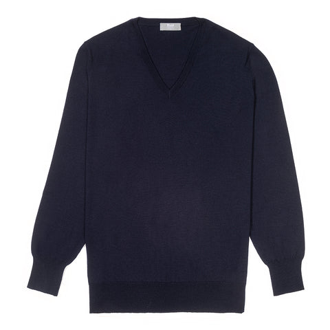 Budd Wool V Neck Sweater in Dark Navy