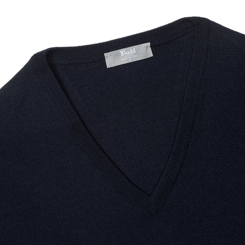 Budd Wool V Neck Sweater in Dark Navy-Sweater-Sterling-and-Burke