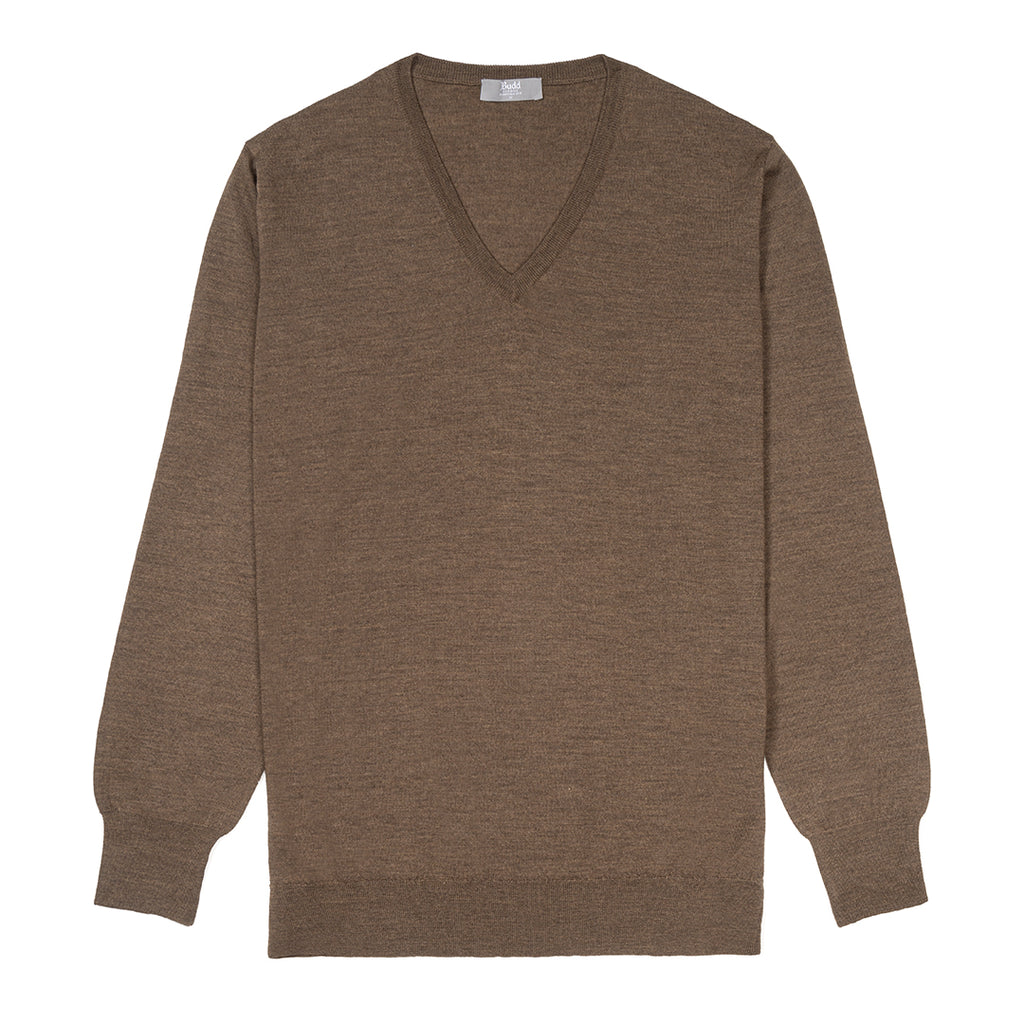 Budd Wool V Neck Sweater in Mole-Sweater-Sterling-and-Burke