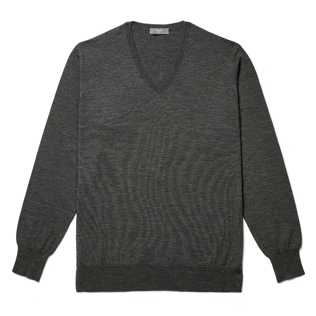 Budd Wool V Neck Sweater in Smoke-Sweater-Sterling-and-Burke