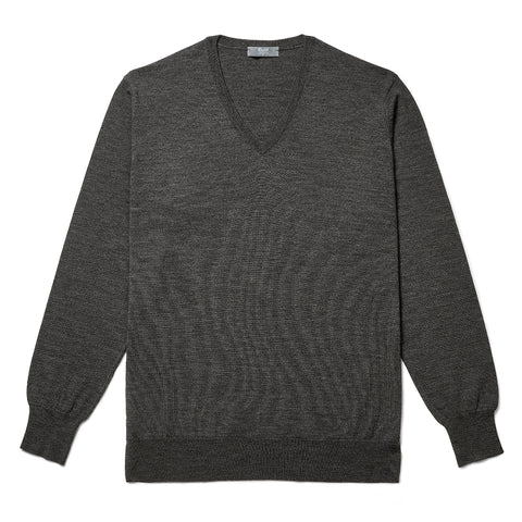Budd Wool V Neck Sweater in Smoke