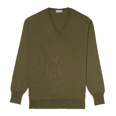 Budd Wool V Neck Sweater in Vere
