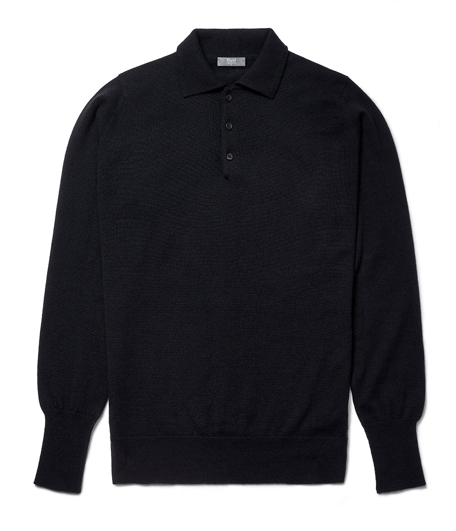 Budd Wool Sports Sweater in Dark Navy-Sweater-Sterling-and-Burke