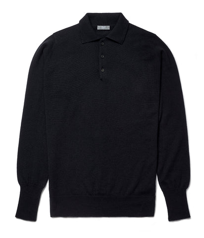 Budd Wool Sports Sweater in Dark Navy
