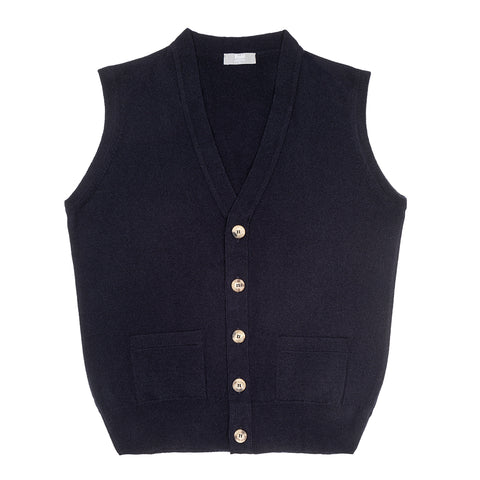 Budd Cashmere Sleeveless Oxton Sweater in Dark Navy