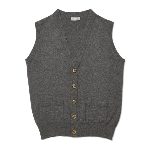 Budd Cashmere Sleeveless Oxton Sweater in Derby