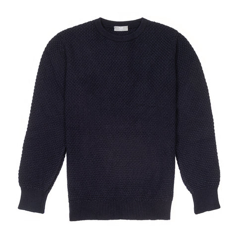 Budd Cashmere Seed Stitch Crew Neck Sweater in Dark Navy