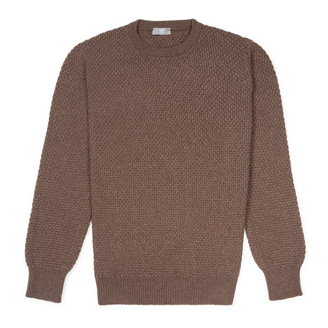 Budd Cashmere Seed Stitch Crew Neck Sweater in Mocha