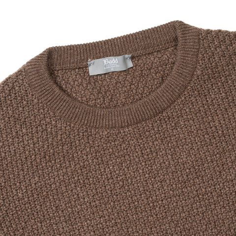 Budd Cashmere Seed Stitch Crew Neck Sweater in Mocha-Sweater-Sterling-and-Burke