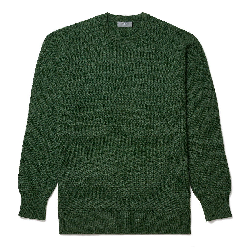Budd Cashmere Seed Stitch Crew Neck Sweater in Serpentine-Sweater-Sterling-and-Burke