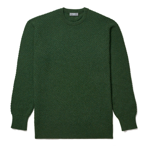 Budd Cashmere Seed Stitch Crew Neck Sweater in Serpentine