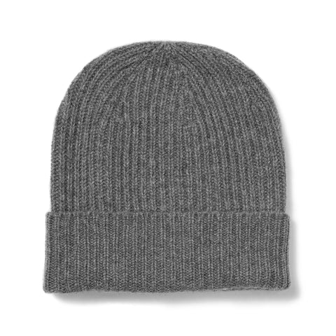 Budd Cashmere Ribbed Hat in Flannel