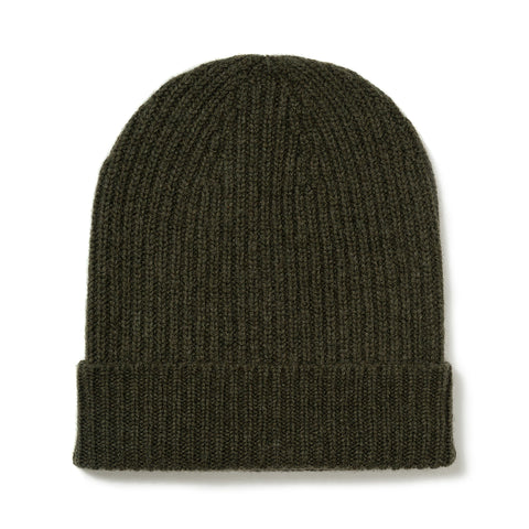 Budd Cashmere Ribbed Hat in Loden Mix