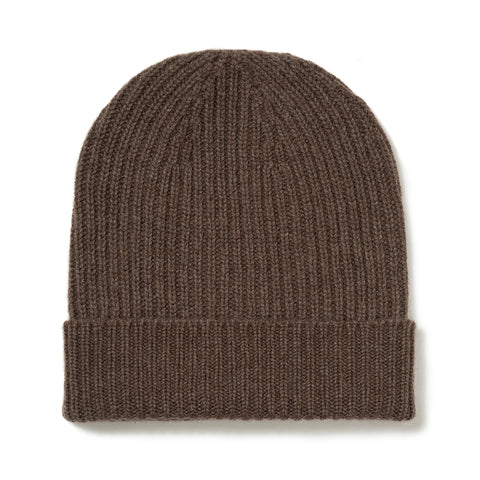 Budd Cashmere Ribbed Hat in Wilderbeast