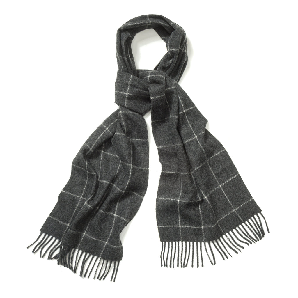 Budd Windowpane Cashmere Scarf in Midsteel and White-Scarf-Sterling-and-Burke