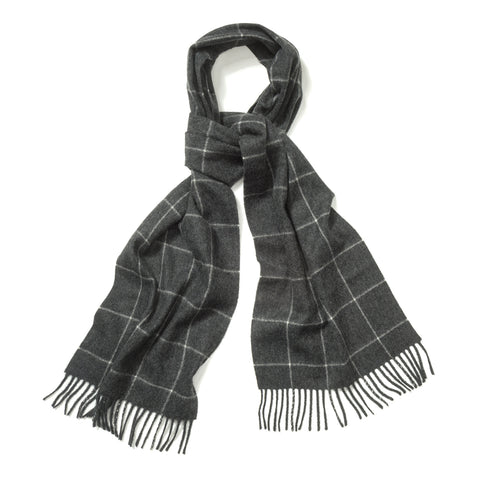 Budd Windowpane Cashmere Scarf in Midsteel and White