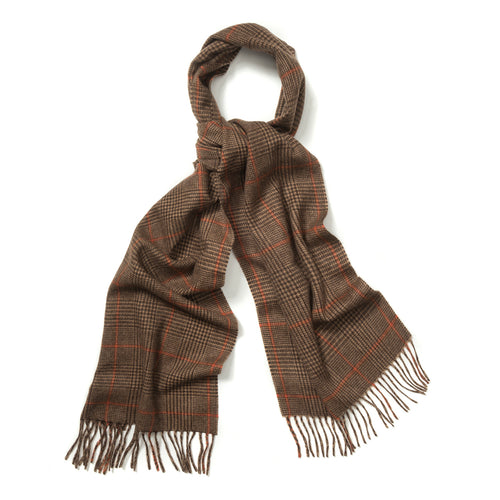 Budd Prince of Wales Cashmere Scarf in Fudge, Dark Brown and Bengal Tiger-Scarf-Sterling-and-Burke