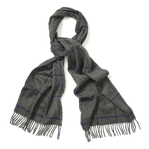 Budd Prince of Wales Cashmere Scarf in Grey, Charcoal and Cobalt-Scarf-Sterling-and-Burke