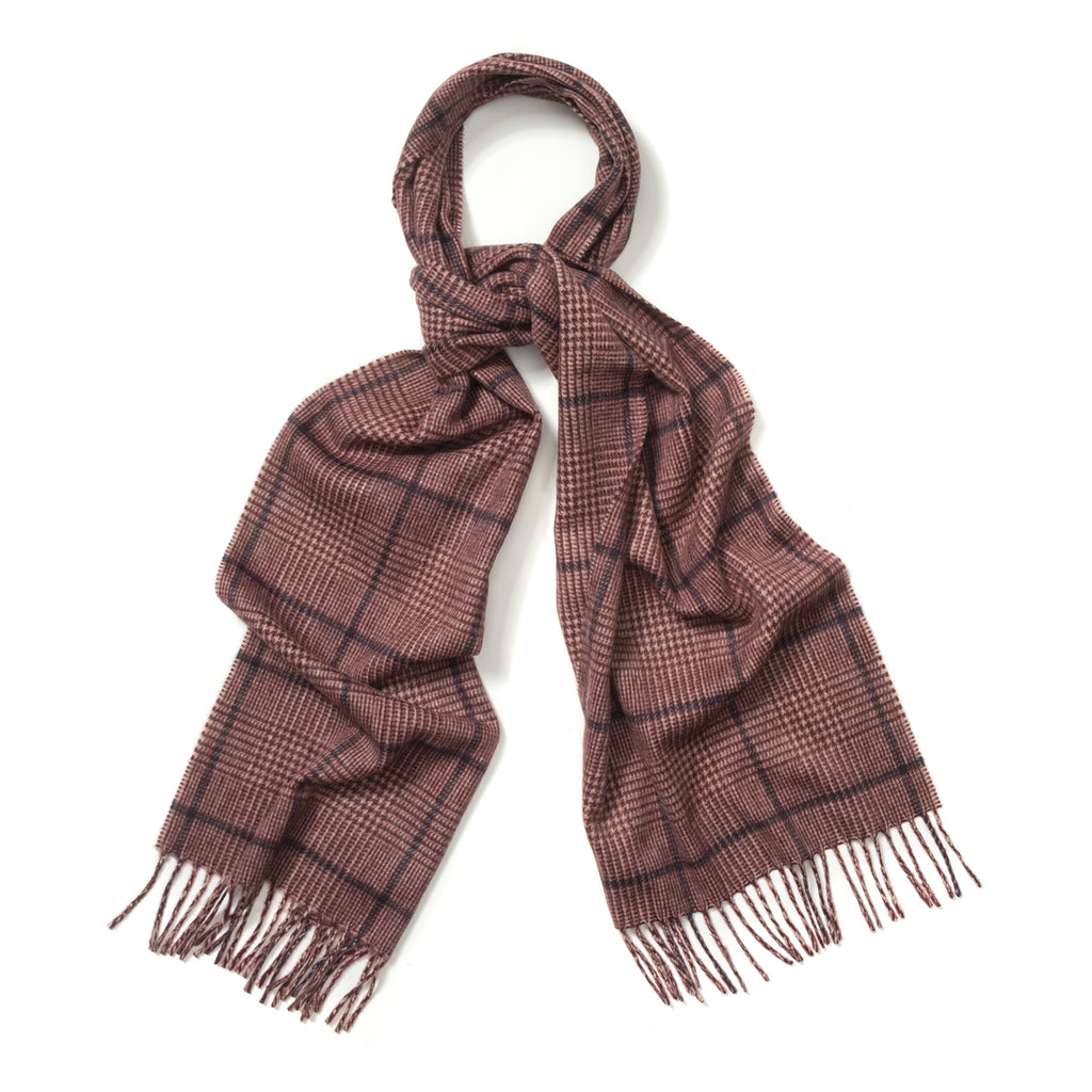 Budd Prince of Wales Cashmere Scarf in Cream, Crimson and Medieval Blue-Scarf-Sterling-and-Burke