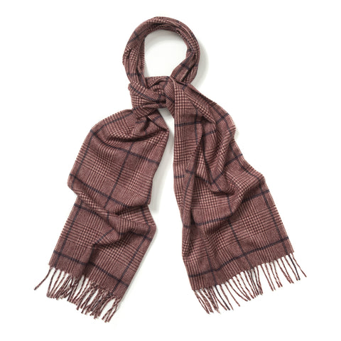 Budd Prince of Wales Cashmere Scarf in Cream, Crimson and Medieval Blue