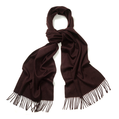 Budd Plain Ripple Cashmere Scarf in Bourgogne-Scarf-Sterling-and-Burke