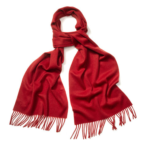 Budd Plain Ripple Cashmere Scarf in Bright Scarlet