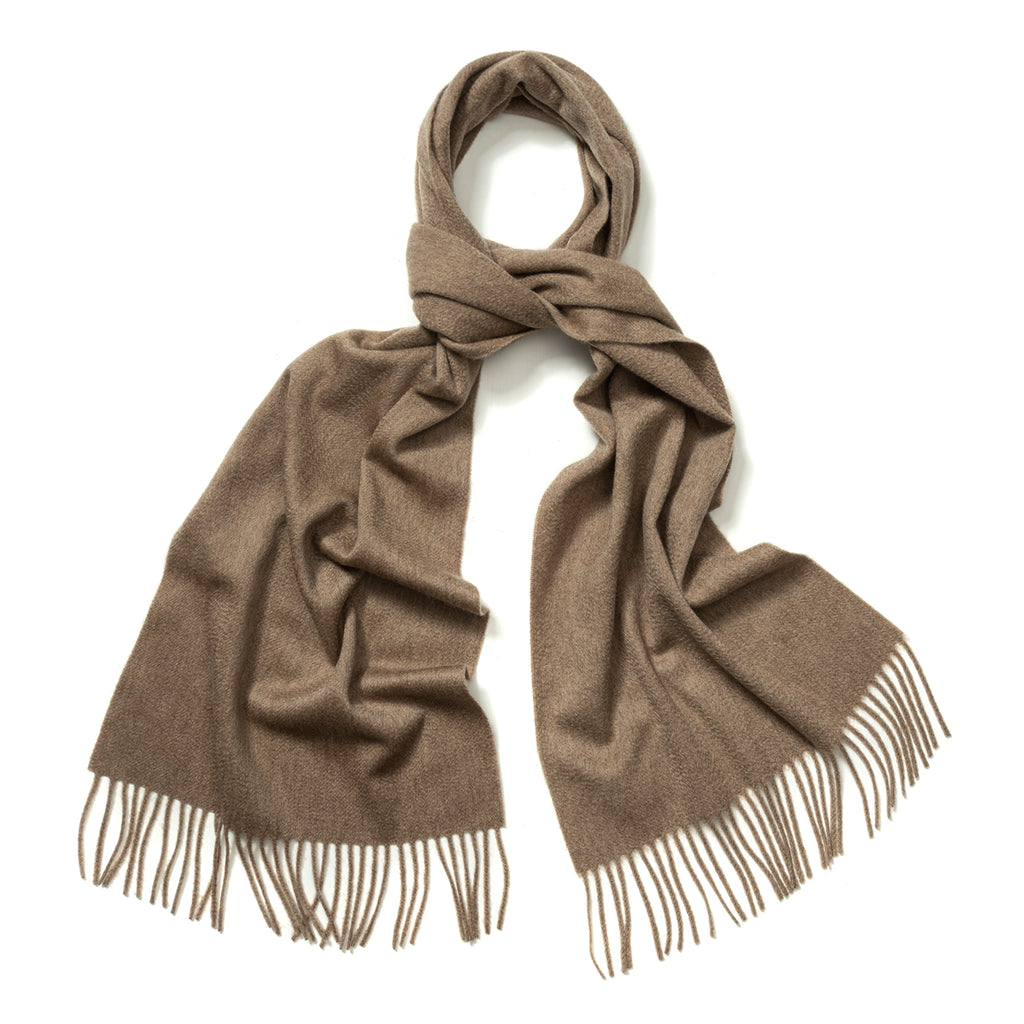 Budd Plain Ripple Cashmere Scarf in Fawn-Scarf-Sterling-and-Burke