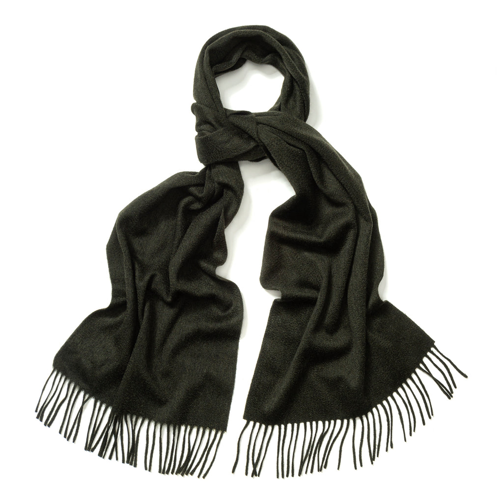 Budd Plain Ripple Cashmere Scarf in Green Black Mix-Scarf-Sterling-and-Burke
