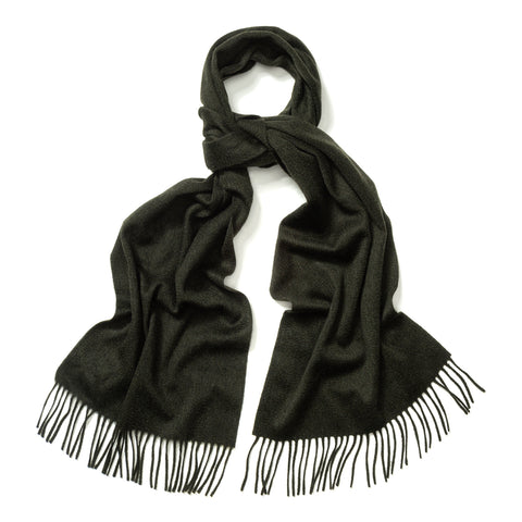 Budd Plain Ripple Cashmere Scarf in Green Black Mix