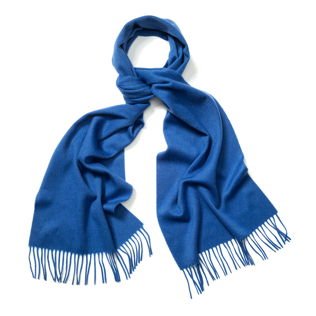 Budd Plain Ripple Cashmere Scarf in Soft Sapphire-Scarf-Sterling-and-Burke