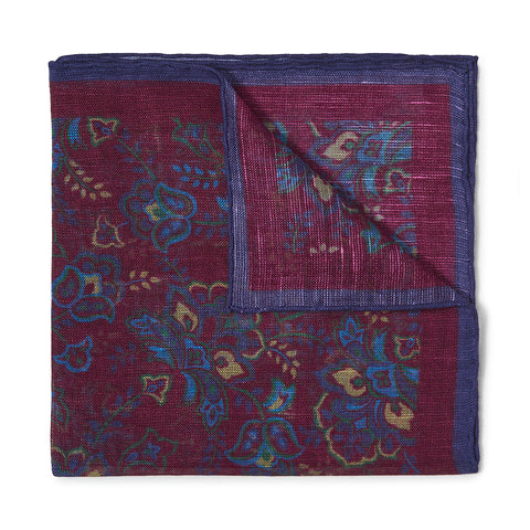 Budd Gypsy Florals Pocket Square in Burgundy & Navy