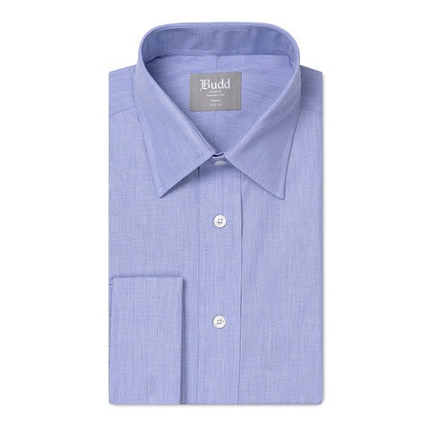 Budd Tailored Fit Plain End on End Double Cuff Shirt in Blue