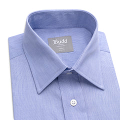 Budd Tailored Fit Plain End on End Double Cuff Shirt in Blue-Ready Made Shirt-Sterling-and-Burke