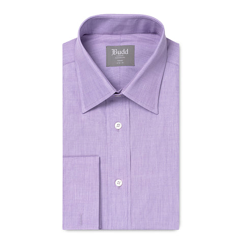 Budd Tailored Fit Plain End on End Double Cuff Shirt in Lilac