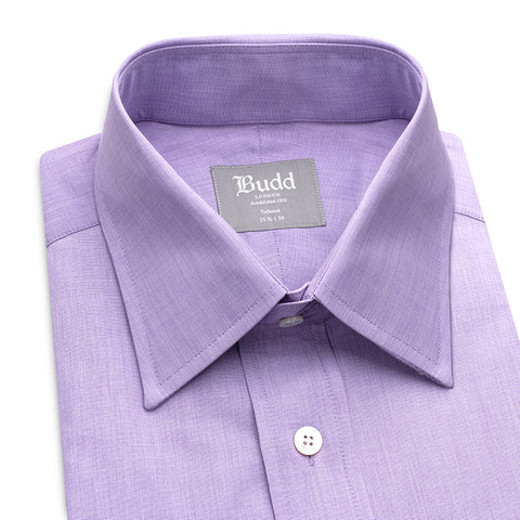 Budd Tailored Fit Plain End on End Double Cuff Shirt in Lilac-Ready Made Shirt-Sterling-and-Burke