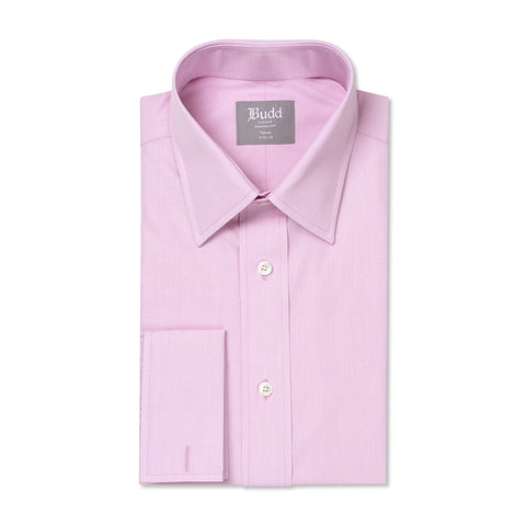 Budd Tailored Fit Plain End on End Double Cuff Shirt in Pink