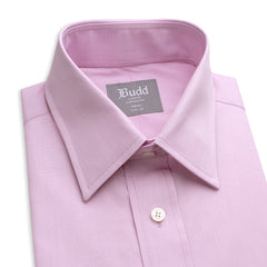 Budd Tailored Fit Plain End on End Double Cuff Shirt in Pink-Ready Made Shirt-Sterling-and-Burke