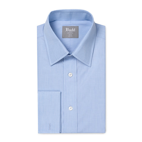 Budd Tailored Fit Plain End on End Double Cuff Shirt in Sky Blue
