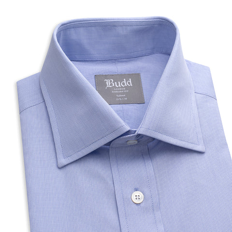 Budd Tailored Fit Micro Check Cotton Button Cuff Shirt in Blue-Ready Made Shirt-Sterling-and-Burke