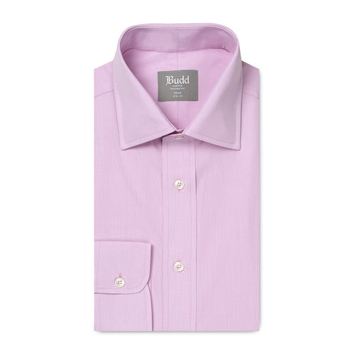 Budd Tailored Fit Micro Check Cotton Button Cuff Shirt in Lilac-Ready Made Shirt-Sterling-and-Burke