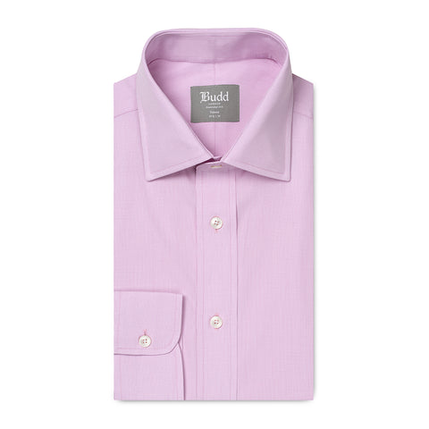 Budd Tailored Fit Micro Check Cotton Button Cuff Shirt in Lilac
