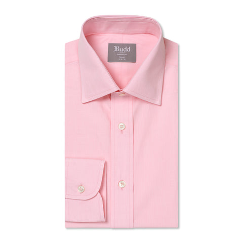 Budd Tailored Fit Micro Check Cotton Button Cuff Shirt in Pink