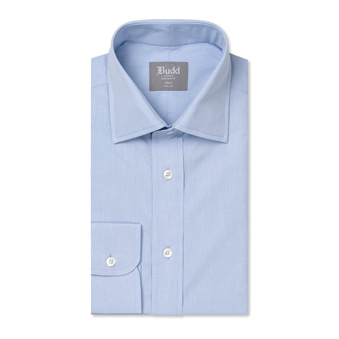 Budd Tailored Fit Micro Check Cotton Button Cuff Shirt in Sky Blue