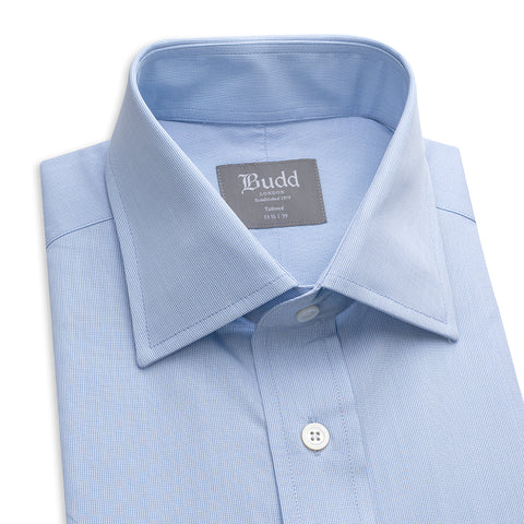 Budd Tailored Fit Micro Check Cotton Button Cuff Shirt in Sky Blue-Ready Made Shirt-Sterling-and-Burke