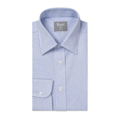 Budd Tailored Fit Large Bengal Stripe Poplin Button Cuff Shirt in Sky Blue-Ready Made Shirt-Sterling-and-Burke