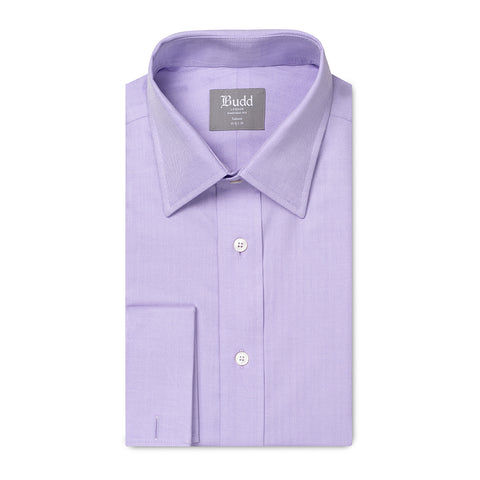 Budd Tailored Fit Herringbone Twill Double Cuff Shirt in Lilac-Ready Made Shirt-Sterling-and-Burke