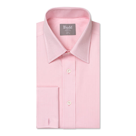 Budd Tailored Fit Herringbone Twill Double Cuff Shirt in Pink-Ready Made Shirt-Sterling-and-Burke